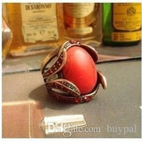 Wholesale Fashion accessories Wedding gift Palace Retro Vintage Red Turquoise crystal rhinestone Ring RJ1277 dd