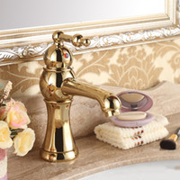 Centerset antique gold taps - Hot and Cold Water Mixer Taps Antique Gold Single Hand Ceramic Plate Spool Bathroom Faucet Brass
