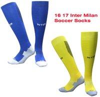 yellow towels - Benwon Inter Milan home blue socks men s Knee High cotton soccer stocking thai quality Thicken Towel Bottom long hose football socks
