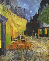 arles van gogh - Vincent Van Gogh The Cafe Terrace on the Forum Arles at night Hand painted Abstract Art oil painting On High Quality Canvas in Custom Sizes