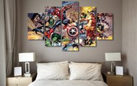 action figures pictures - 5 Panel HD Printed Marvel action fighting Painting Canvas Print room decor print poster picture canvas painting canvas art venice