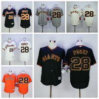 Wholesale New Buster Posey Jerseys San Francisco SF Giants Buster Posey Baseball Jersey Flexbase Retro Cool Base White Grey Orange Cream Black