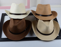 Wholesale Fashion Cowboy straw Caps Hats Women Sea boater Straw Made Caps with your logo or text