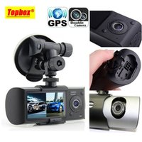 Wholesale Dual Camera Car DVR R300 with GPS and D G Sensor quot TFT LCD X3000 Cam Video Camcorder Cycle Recording Digital Zoom
