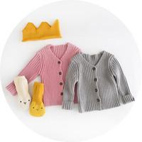 Wholesale Baby Girls Kitty Sweater Button Cardigan Tassels V Neck New Autumn Winter Warm Sweater
