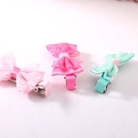 Wholesale Children Girls Lace Duckbill Hairclips Hairpins Bowknot headwear Hair Accessories Cute Lovely Color Random