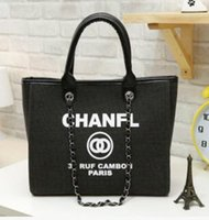 Wholesale Manufacturers selling female bag new South Korea canvas bag fashion C C one shoulder chain handbag is white