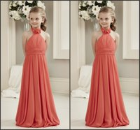 beautiful wedding dresses for cheap - Kids Dress For Wedding Sleeveless Cheap Price Hand Made Flowers Halter Neck Floor Length Simple Style Beautiful Party Gown Prom Dress