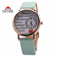 analog love - women words Polymer clay love heart leather watch fashion casual leisure ladies girls dress quartz wrist watches
