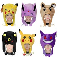 Wholesale poke pikachu Plush hats Eevee cap Warm hat Umbreon tag Noctali chapeau Nachtara label Haunter hat