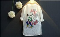 Wholesale 5pcs Autumn New Girl Cardigan mickey mouse Cartoon Thin Long Style Knitting Sweaters Coat Children Clothes T