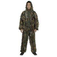 Wholesale New Fashion Hunting Wear3D Tactical Camo Leaf Camouflage Suits Ghillie Bionic Training Suit Set CS Savage Kit Storage BZ