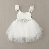 100-110-120-130-140 baby clothes direct - 2016 new Baby Kids clothes spring summer sleeveless cotton lace girls princess tutu bright drill belt children dress Factory Direct