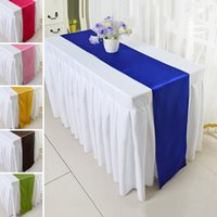 Wholesale Hot Sales Satin Table Runner Cloth Solid Color Wedding Party Banquet Hotel Table Decoration Table Runners JM0188 smileseller2010