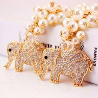 amazing elephants - 2016 new Amazing Elephant Crystal Bag Pendant Purse Bag Buckle Trendy Key chains Holder Keyrings Keychains For Car free ship