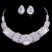 al por mayor estilo de la joyería del collar-2016 Los accesorios nupciales del Rhinestone de lujo Wedding la joyería fija los accesorios de los pendientes del collar Dos pedazos de estilo barato de la manera caliente