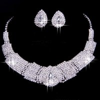 Wholesale 2016 Luxury Rhinestone Bridal Accessories Wedding Jewellery Sets Necklace Earrings Accessories Two Pieces Cheap Fashion Style Hot