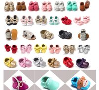 Wholesale 4th of July ins Suede Leather Baby Lace Up Shoes bow Tassels Fringe maccasions shoes infant leopard camouflage sequins walking shoes