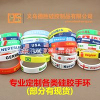 Wholesale 2016 Hot Sale National Flags Bracelets Olympic Games World Cup Fans Braided Rope Charms Bracelets Unisex Silicone Bracelet