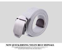 belt fashion tips - Buckle Belt for Man Canvas Web Belt Flip Top Black Buckle Tip Solid Color meter Long cm Wide