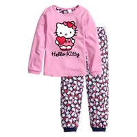 Wholesale Hello Kitty Kids Sets New Cartoon Baby Home Clothes Pajamas Clothing Sets for Girls Boys Tops Pants