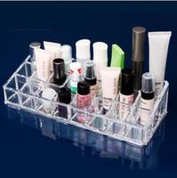 Wholesale Acrylic Transparent Multi pocket Cosmetic Storage Box grids lipstick makeup organizer box Beauty Plastic Storage box