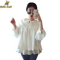 baby bottoms doll - Plus Size Women Loose Cute Baby doll Cotton Blouse Lolita Ruffle Bottom Lantern Sleeve White Tops Ladies blusas mujer