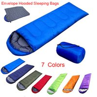 Wholesale 2016 Outdoor Color Envelope Hooded Sleeping Bags Summer Camping Rectangular Multifuntion Single Adult Compression Bag Sleeping Bag