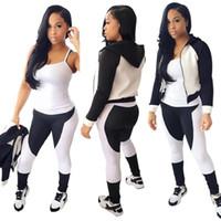 Wholesale European Fashion Black And White Sleeve Hoodies Hat Long Pencil Pants Suit Girl Pieces Set Printed Top Sports Mans Women Ladies Tracksuits