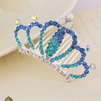 Wholesale Hair jewellry New arrival Korean children hair accessories colorful rhinestone crown Combs