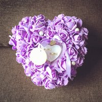 Wholesale Wedding Ring Pillow Colorful White Crystals Pearl Bridal Ring Pillow Organza Satin Lace Bearer Flower Rose Pillows Bridal Supplies Beaded We