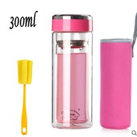 Wholesale Glass water bottles transparent bottle with different color cap tea or coffee bottle high quality ml water bottle