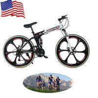 all'ingrosso biciclette pieghevoli-Stati Uniti Stock Unisex 26 pollici 21-velocità 26 '' Mountain bike Biciclette pieghevoli doppio smorzamento Sport Sei Raggi Biciclette