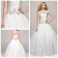 accent the neckline wedding dress - 2016 Satin Ball Gown Wedding Dresses Strapless neckline with pleat bodice and beaded accents on the waist AI10012326 gowns