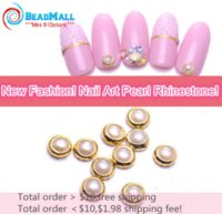 Wholesale Min order Japan Fashion mm Pearl White Alloy Nail Art Glitter Rhinestone Pearl Studs Stickers Decoration Tool DIY078