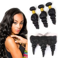Wholesale 8A Peruvian Loose Wave Human Hair With Lace Frontal Closure X4 Ear To Ear Loose Wave Curly Hair Bundles With Lace Frontal