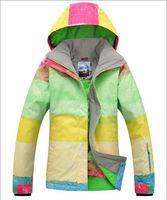 Wholesale new womens ski jacket muticolor grid waterproof snowboarding jacket ladies color matching ski jacket snow parka skiwear