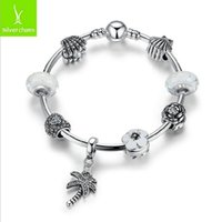 Wholesale 2016 New Fashion Pandora Charms Style Coconut Tre Bracelet Glass Bead Silver Beads Bracelets Diy Jewelry For Women Engagement Marry Gift