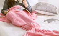 Wholesale 2016 baby Mermaid Tail Blanket Super Soft knited Crocheted cartoon Sofa Blanket air condition blanket siesta blanket