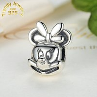 Wholesale New Sliver Minnie Mouse Head Charms beads ale Stamped Fits European Pandora Jewelry Bracelets