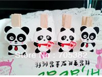Wholesale Cute panda design mini wood clips paper clips DIY stationery SS