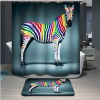 Wholesale Europe Style Thicken Waterproof Colorful Zebra Piano Mask Girl Animal World Peacock Bath Curtains Creative Personlized Shower Curtain