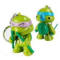 Wholesale TMNT teenage mutant ninja turtles LED luminous voice keychain ring set New TMNT Tee figurine Leonardo neca party supply