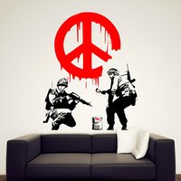 art fighter - Banksy Style CND Cool Soldier Fighter Painting Sign Vinyl Wall Wallpaper Sticker Decal Mural Removable Art Home Decor