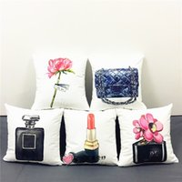 adult bedroom decor - Rose Flower Cushion Covers X40cm Perfume Bottle Sexy Lipstick Soft Material Luxury Decor Pillow Case Bedroom Car Decorative Kids Gift
