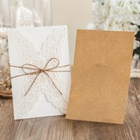 Wholesale pieces Laser Cutting Wedding Invitation Card With Hemp Rope Birthday Invitations With Personalized Inner Sheet PK14113