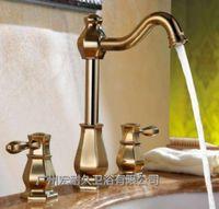 antique gold pumps - European gold copper faucet hot retro split three antique Hand Pulled Noodle basin faucet lifting pump