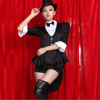 Wholesale Ladies Tuxedo Costume Magician Cosplay Adult Female Jazz Dance Performance Plus Size XL Carnival Halloween Costume for Women