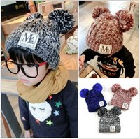 baby golf balls - 2016 New Warm Winter Hat For Children Hat Girl Warm Cap Baby Knitted Hat For Kids Double Ball Skullies Beanies Accessories