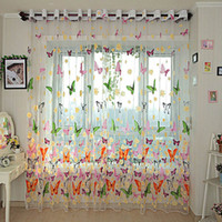 Wholesale Sheer Curtains cm x cm Butterfly Printed Tull Voile Door Window Sheer Screen Curtains Panel Drapes Curtains DHL w